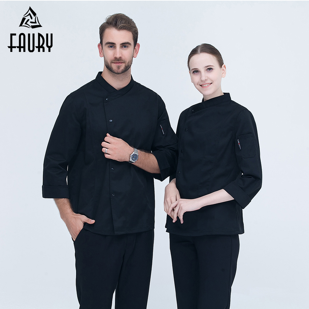 2018 High Quality Chef Uniform Long-sleeved Double Breasted Food Service Kitchen Bakery Restaurant Workwear Chef Jacket & Pocket