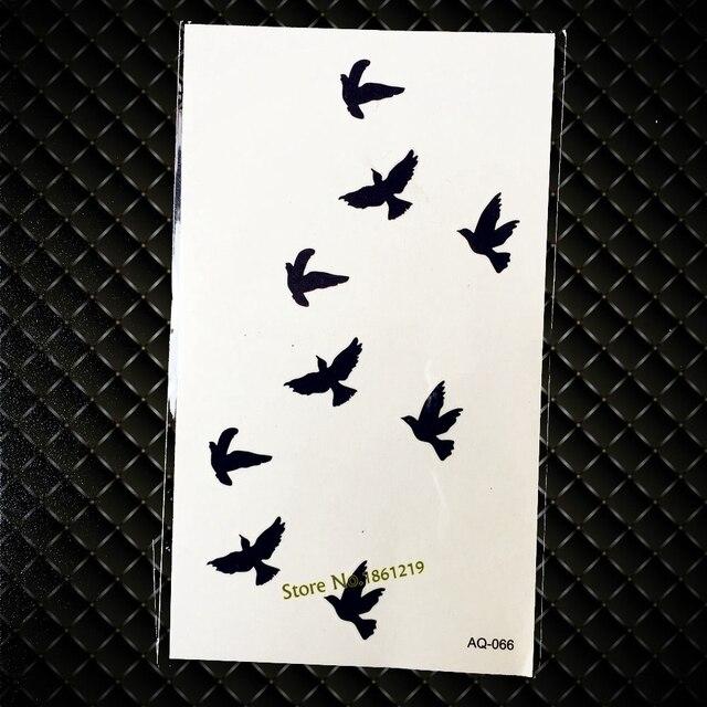 Hot Black Flying Birds Tattoo Sticker For Men Women Waterproof Body Art Fake Arm Neck Tatoo Temporary Tattoo Stickers GAQ-066