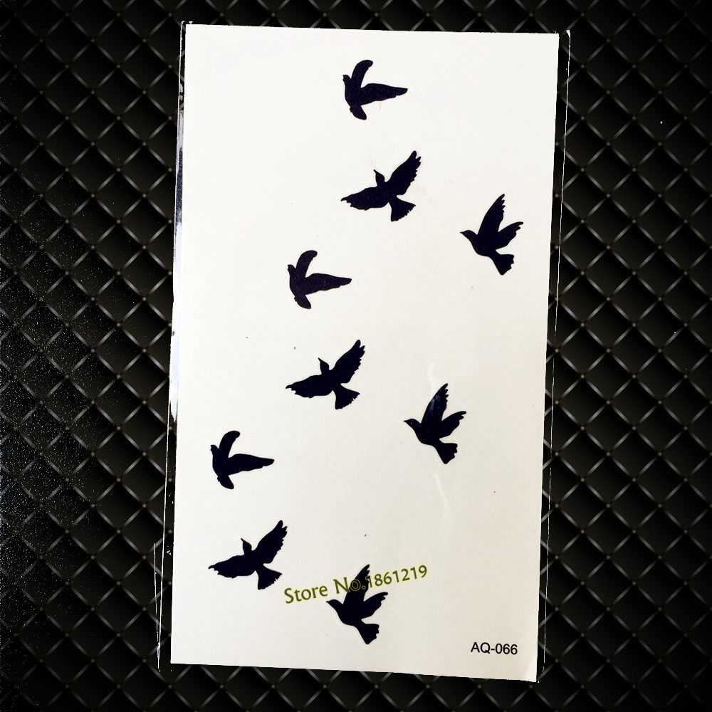Hot Black Flying Birds Tattoo Sticker For Men Women Waterproof Body Art Fake Arm Neck Tatoo Temporary Tattoo Stickers GAQ-066