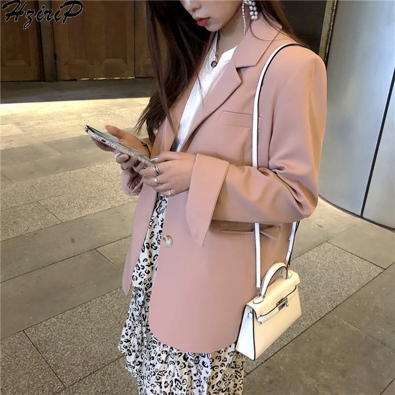 HziriP Women 2019 Spring Long Sleeve Stylish Solid Elegant Upscale Pink Work Wear Literary Loose Office Lady Outwear Blazer