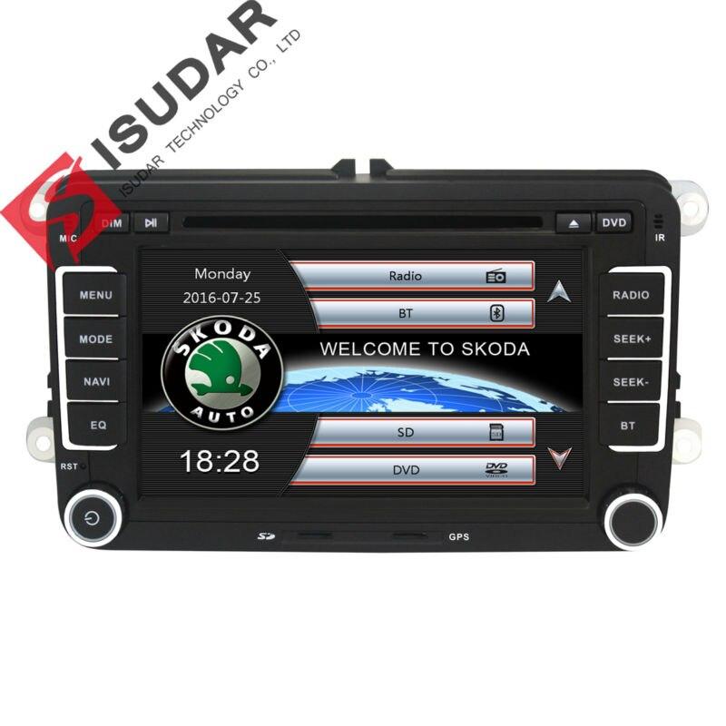 Isudar reprodutor multimídia Carro DVD automotivo GPS Autoradio 2 Din Para Skoda/Octavia/Fabia/Rapid/Yeti/Superb/VW/Seat Rádio FM 1080 P