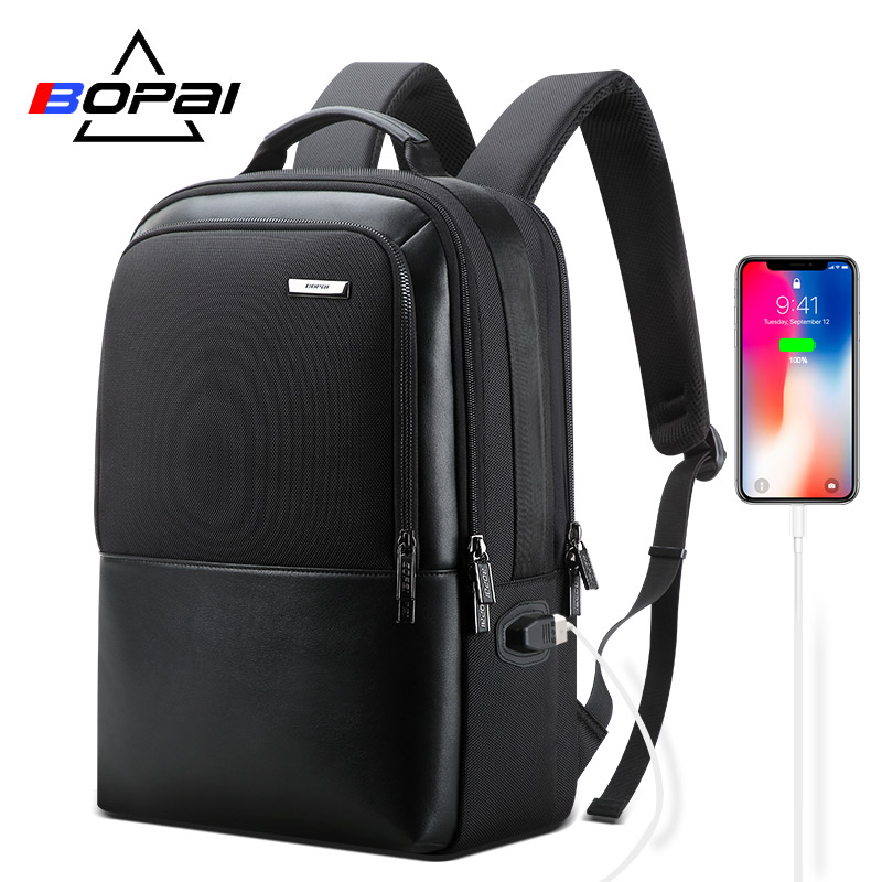 BOPAI Leather Backpack Men Anti Theft Backpack USB Charging Laptop Backpack For 15.6 Inch Multifunctional Business Backpack Male