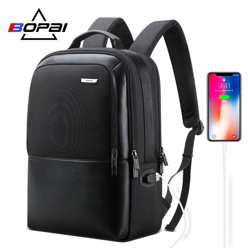 BOPAI sac à dos en cuir hommes Anti-vol sac à dos USB chargeur sac à dos pour ordinateur portable pour 15.6 pouces multifonctionnel sac à dos d'affaires homme