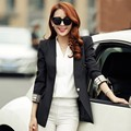 Nova Moda 2016 Mulheres Casaco Único Botão Blazer Terno Doce Cor Ocasional Blazer Feminino Outerwear Venda Quente Magro Mulheres Blazer