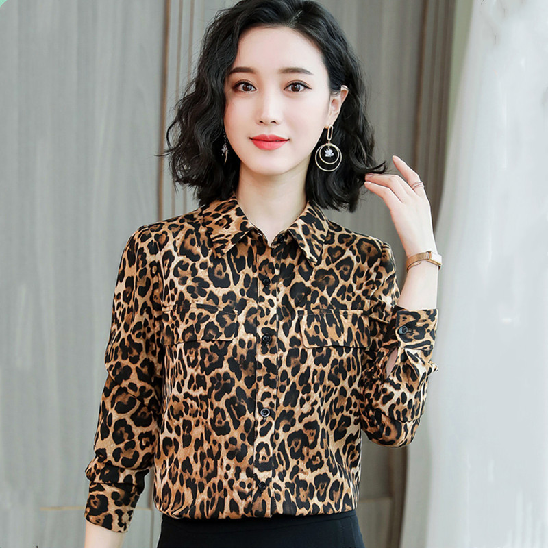 Hanyiren Women Long Sleeve Leopard Print Chiffon Blouses 2019 Spring New Fashion Office Lady Turn Down Collar Casual Wear Tops