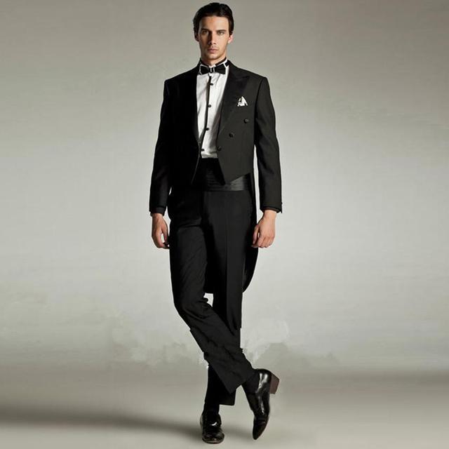 Custom made 2018 New Bridegroom groomsman prom suits Swallowtail ...