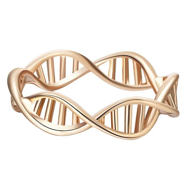 QIAMNI DNA ogon ryby ananas cząsteczka serce Puzzle Pulse pierścień dla kobiet słoń Deer krab pierścień najlepszy prezent urodzinowy dla przyjaciela