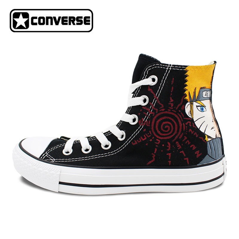 Black Canvas Shoes Converse Women Men Designer Style Athletic Sneakers High Top Anime Shoes Naruto Gaara High Top Chuck Taylor