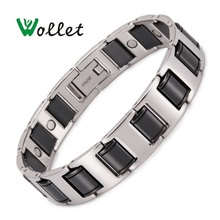 Wollet Jewelry Black Ceramic Bracelet for Men Magnetic Therapy Magnet Silver Color Health Care Healing Energy Pain Relief цена