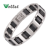Wollet Jewelry Black Ceramic Bracelet for Men Magnetic Therapy Magnet Silver Color Health Care Healing Energy Pain Relief