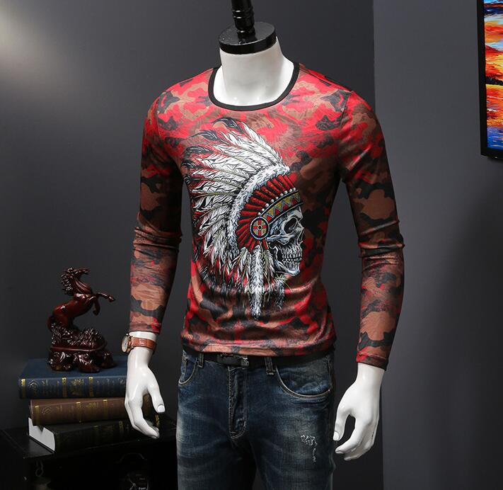 long Sleeve T Shirt Men Casual ice Cotton Tshirt DF00541