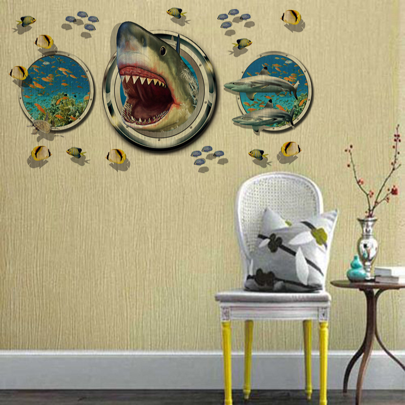 SK9017 Sea World Shark Fish 3D Art Design Removable wall sticker ...