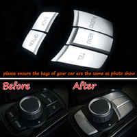 5PCS Auto Interior Multi Media Switch Button Cover Trim For BMW 120i 220i 228i 328d 330i 340i 428i 435i 520i 528i 740i ABS