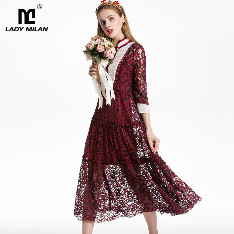 New Arrival 2018 Womens Stand Collar Long Sleeves Tiered Ruffles Embroidery Patchwork Fashion Casual Mid Calf Dresses