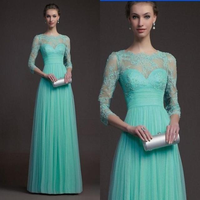 2017 Long Mint Green Tulle Bridesmaid Dresses A Line Three Quarter Sleeve Lace Top Maid Of