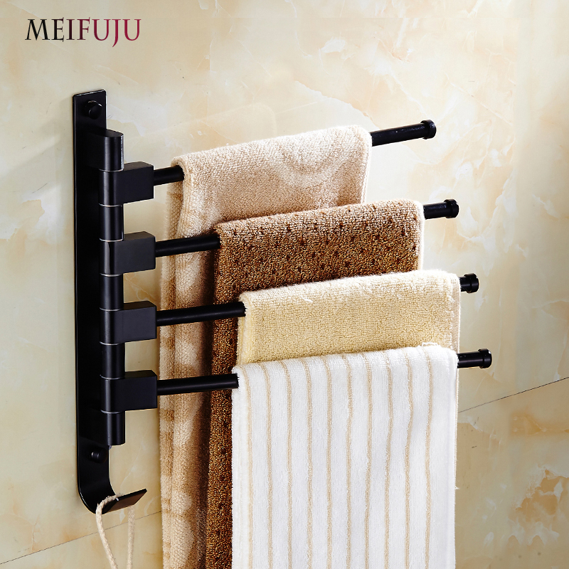 MEIFUJU MFJ3206 Black Movable Bath Towel Racks 2-3-4-5 Bars Bathroom  Shelf Wall Mounted