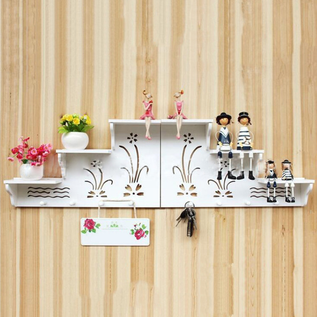 wpc board wall hook wall rack sweet home wall shelf bathroom living room decoration engraving flower