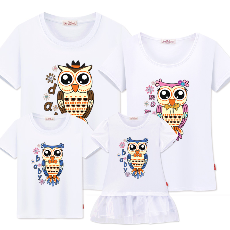 Familj Matchande Kläder Matchande 2019 Familj Look Mother Daughter Dress Sommar Bomull T-shirt Far Son Outfits Kortärmad