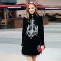 2017 Spring Runway Designer Dresses Women Long Sleeve Stand Collar Royal Diamond Crystal Back Button Black Velvet Dress S-XL
