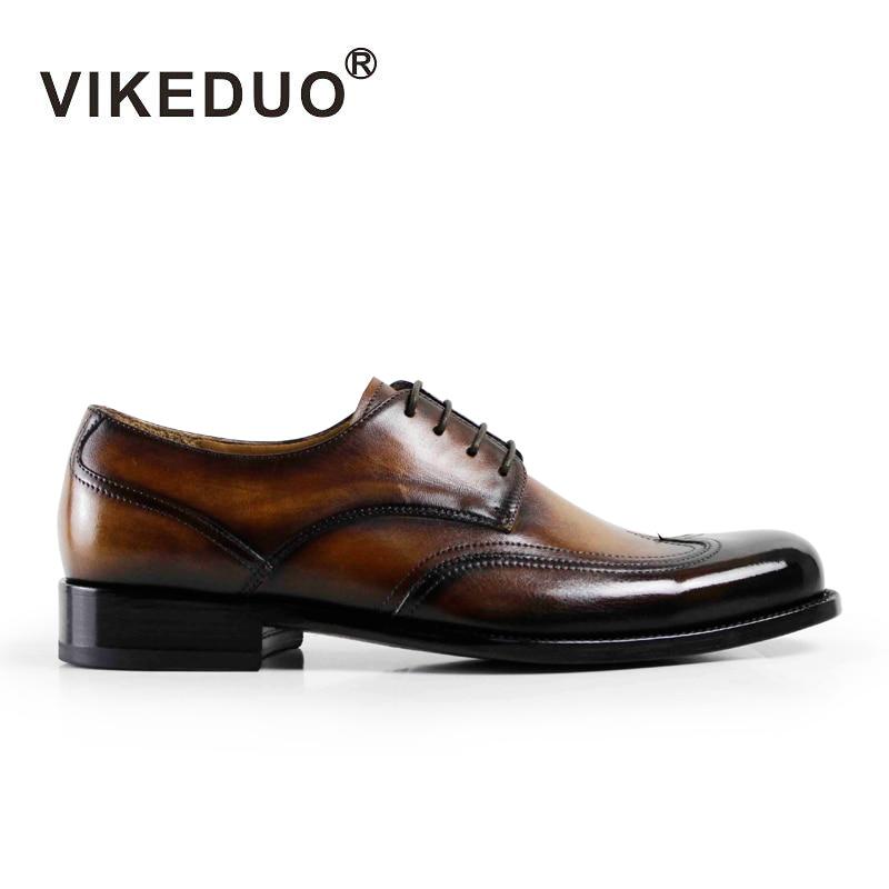 Vikeduo Handgjorda Vintage Designer Luxury Fashion Party Bröllop Tillfälligt Märke Man Shoe Äkta Läder Män Derby Dress Skor