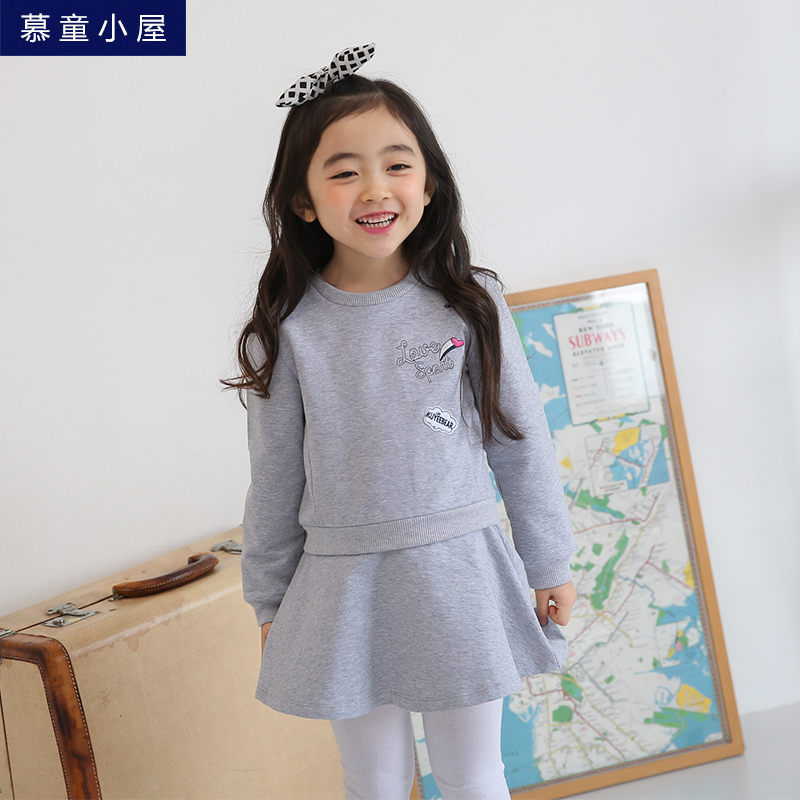New arrival Brand Spring autumn cotton dress  Girls letters children school clothes for 2 3 4 5 6 7 8 9 years old girls clothes girls clothes 2017 autumn spring new fashion brand children s clothing for 2 3 4 5 6 7 8 9 10 years old kids tops tee and pants