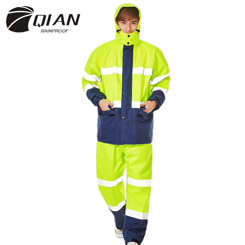 QIAN Brand Impermeable Raincoat Women/Men Jacket Pants Set Adults Rain Poncho Thicker Police Working Wear Motorcycle Rainsuit