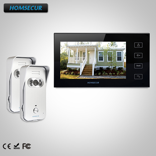 HOMSECUR 7 Video Door Entry Security Intercom+Black Monitor for Apartment TC021-S Camera+TM704-B Monitor