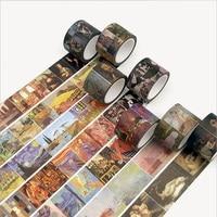 10 stks/partij 3 cm Breed Vintage Wereldberoemde Schilderij Washi Tape Plakband DIY Scrapbooking Sticker Label Afplakband