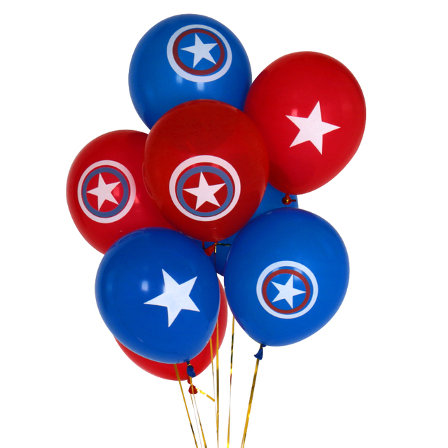 10pcs/lot 2.3g 10inch Blue Red Captain America shield Balloon Classic hero thelatex balloon Birthday Party supplies kids toys