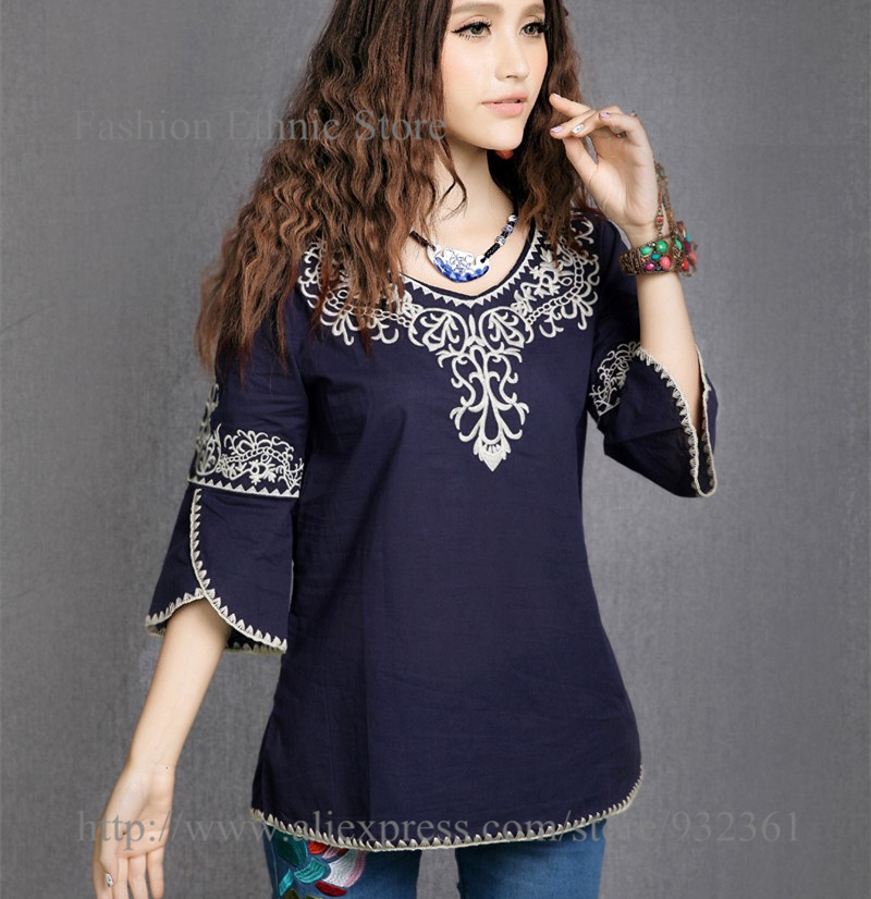 fc9b86bf3e696 Hot Sale] Hot Sale New 2019 Vintage Ethnic Floral EMBROIDERED Hippie ...