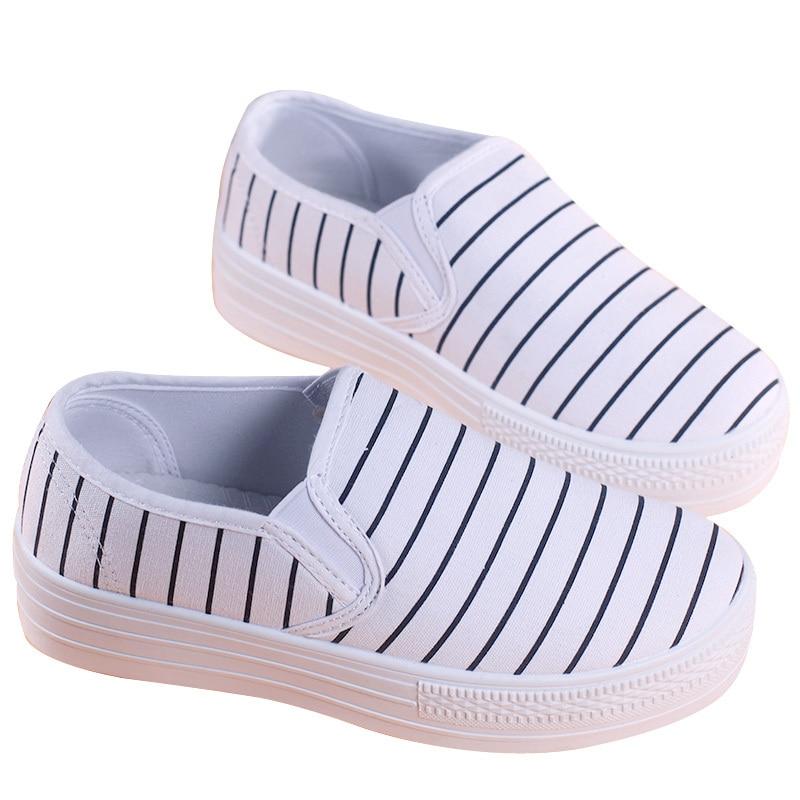 6dbd93301 Pop Venda Altura Crescente Tênis de Lona Sapatos de Plataforma de Salto Alto  das mulheres Preto Branco Listrado Flats Deslizar Sobre Sapatos Femininos  em ...