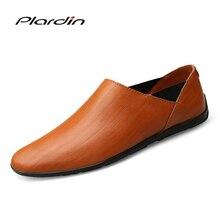 Plardin/Новая Всесезонная мода плюс Размеры человек Разделение из мягкой кожи удобные дышащие платье в сдержанном стиле кожаные туфли для мужчин