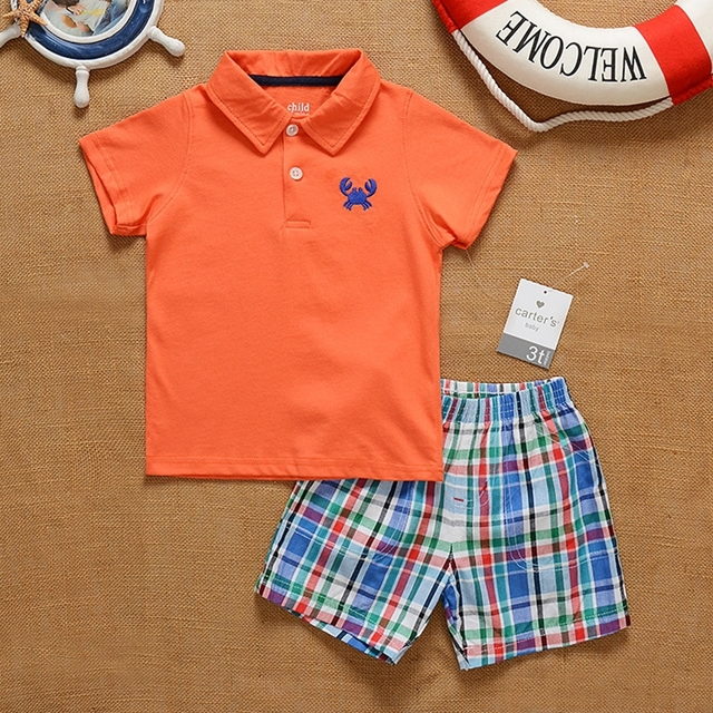 Summer Carter Boys Clothes Polo Collar Boys T Shirts And Plaid Shorts Kids Clothes Childrens