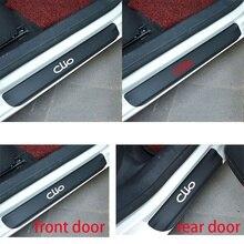 4pcs/set Car Door Window Protector Sticker Carbon Fiber Vinyl for Renault CLIO