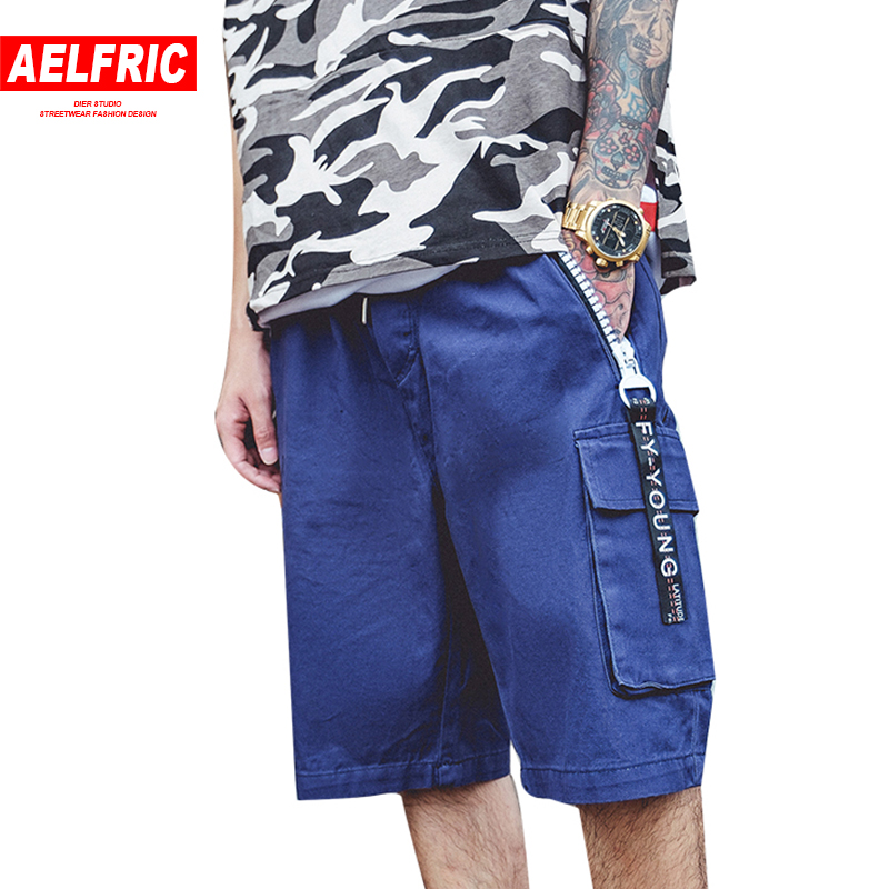 AELFRIC Blue Cargo Shorts Mens Casual Summer Pockets Short Joggers Male Fitness Ribbons Zipper Workout Fashion Swag Shorts RK15