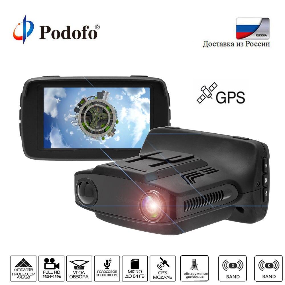 Podofo Camear DVRs Ambarella Carro Detector De Radar Gps 3 em 1 Gravador de Vídeo Secretário HD 1080 P DashCam Carro LDWS Russa língua
