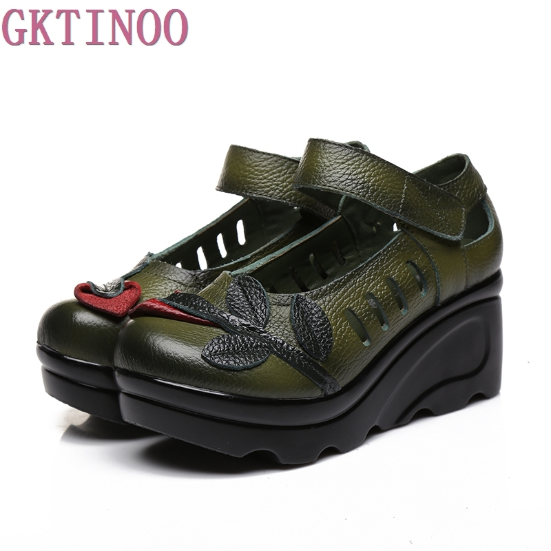 Handmade 2017 Spring Autumn Ethnic Comfortable Women Wedges Genuine Leather Women's Shoes round toe Platform high heels pumps