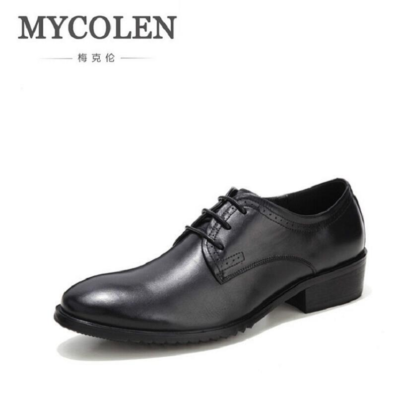 MYCOLEN 2018 New Mens Oxfords Black Dress Shoes Lace Up Business Leather Formal Men's Oxfords Men Shoes For Wedding Chaussure good quality men genuine leather shoes lace up men s oxfords flats wedding black brown formal shoes