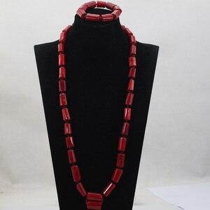 Модные мужские длинные Дизайнерские комплекты из коралловых бусин нигерийские Африканские свадебные/вечерние мужские бусы ожерелье ювели...