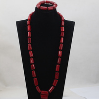 Fashion Man Long Design Coral Beads Sets Nigerian African Wedding/Party Man Beads Necklace Jewelry Set Free Shipping CJ797