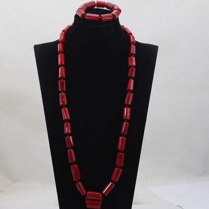 Mode homme longue conception corail perles ensembles nigérian africain mariage/fête homme perles collier bijoux ensemble livraison gratuite CJ797