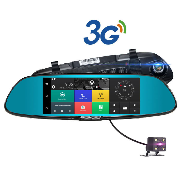 3G Wifi Car DVR Camera GPS Navigation Android 5 Video recorder Bluetooth Dual Lens Rearview mirror Camcorder Dash cam HD1080P 7″