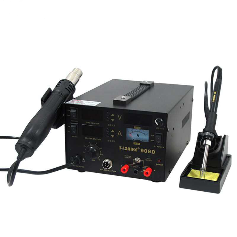 цена на Soldering iron+Hot Air Gun+Power Supply 220V SAIKE 909D Soldering/Hot air gun rework station 3 in 1