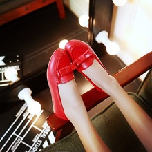 Big Size 11 12 In the spring of the new type of round head single female single shoes with flat shoes bowknot is women's shoes