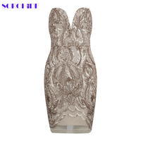 SORCHIDF 2017 Women Autumn Winter Bandage Dress Sexy Strapless Apricot Sequins Mesh Runway Dress Celebrity Party