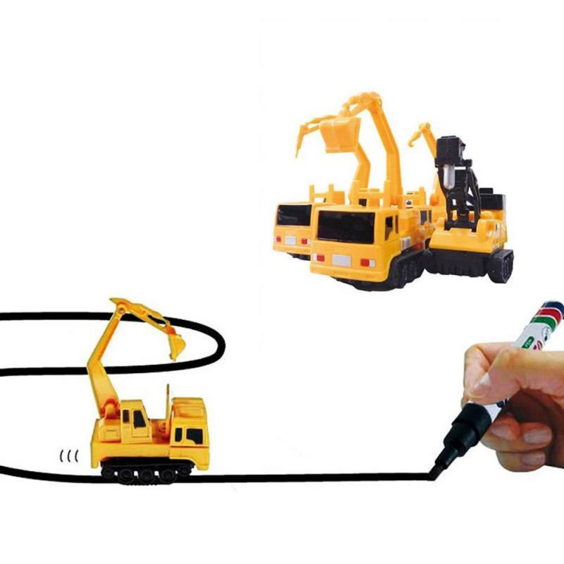 18 Inductive Car Line Follower Diecast Toys Trucks Vehicle Magic Pen Toy Tank Excavator Construt Follow Any Line You Draw 16
