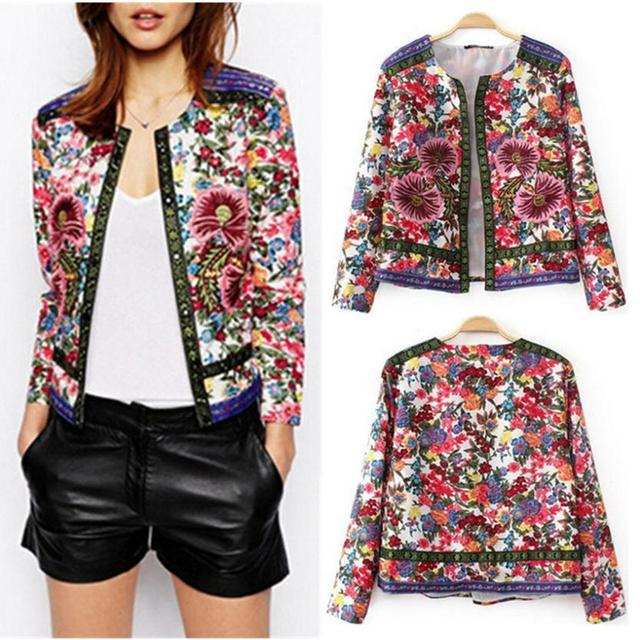 New 2014 Womens Vintage Ethnic Crew Neck Embroidered Contrast Color Floral Print Paisley Long ...