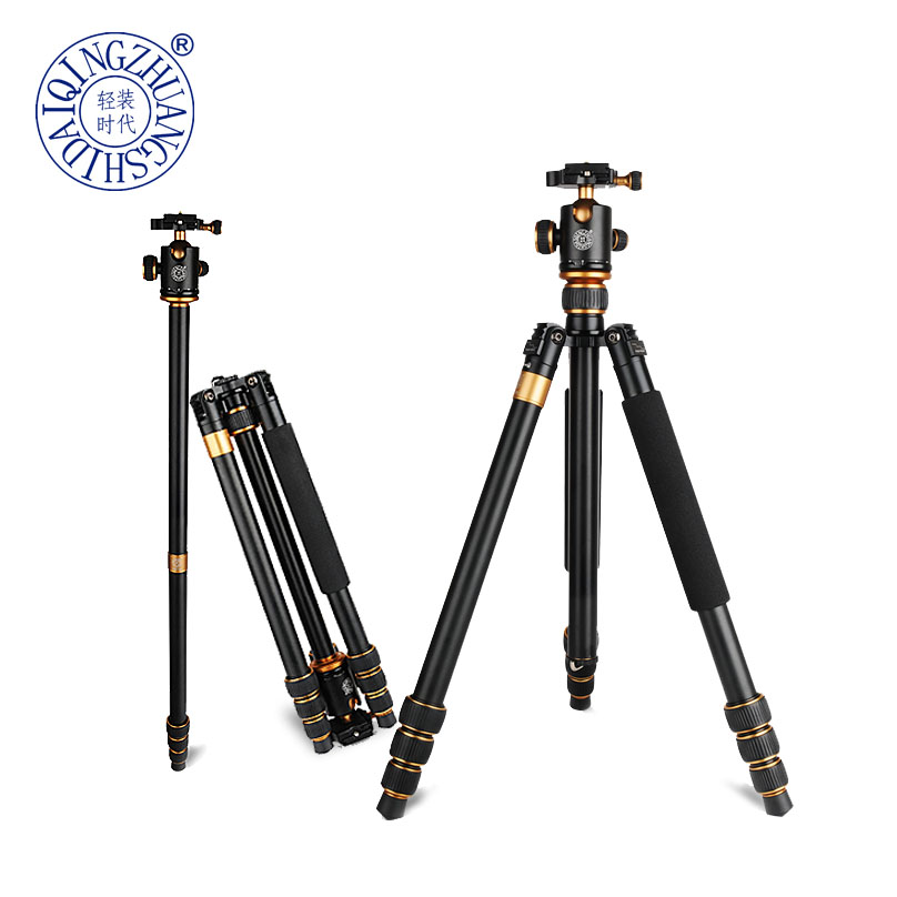 все цены на QZSD-Q1088 Professional DSLR Camera stand Aluminum Alloy Tripod 15kg Load with Ball Head Monopod Tripe Para Camera Accessories онлайн