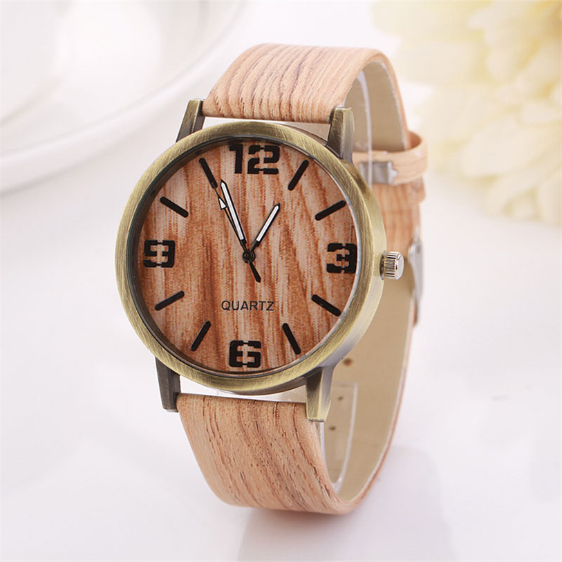 Vintage Women Man Watch Wood Grain Dial PU leather Band Analog Clock Fashion & Casual Gift For Men Quartz Wristwatch hodinky quartz watch with small diamond dots indicate leather watch band hearts pattern dial for women