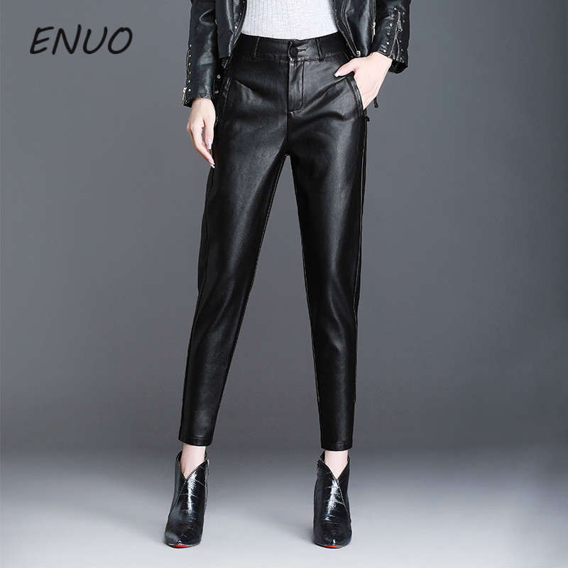 Faux Leather   Pants   Women 2019 Spring Loose High Waist PU Harem   Pants     Capri   Womens Trousers Plus Size 4XL Pantalon Femme Mujer